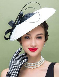 34ffe1a190 Vintage Flapper Hat Linen Color Block Bow Decor Women s Retro Bowler Hat  Halloween in 2018