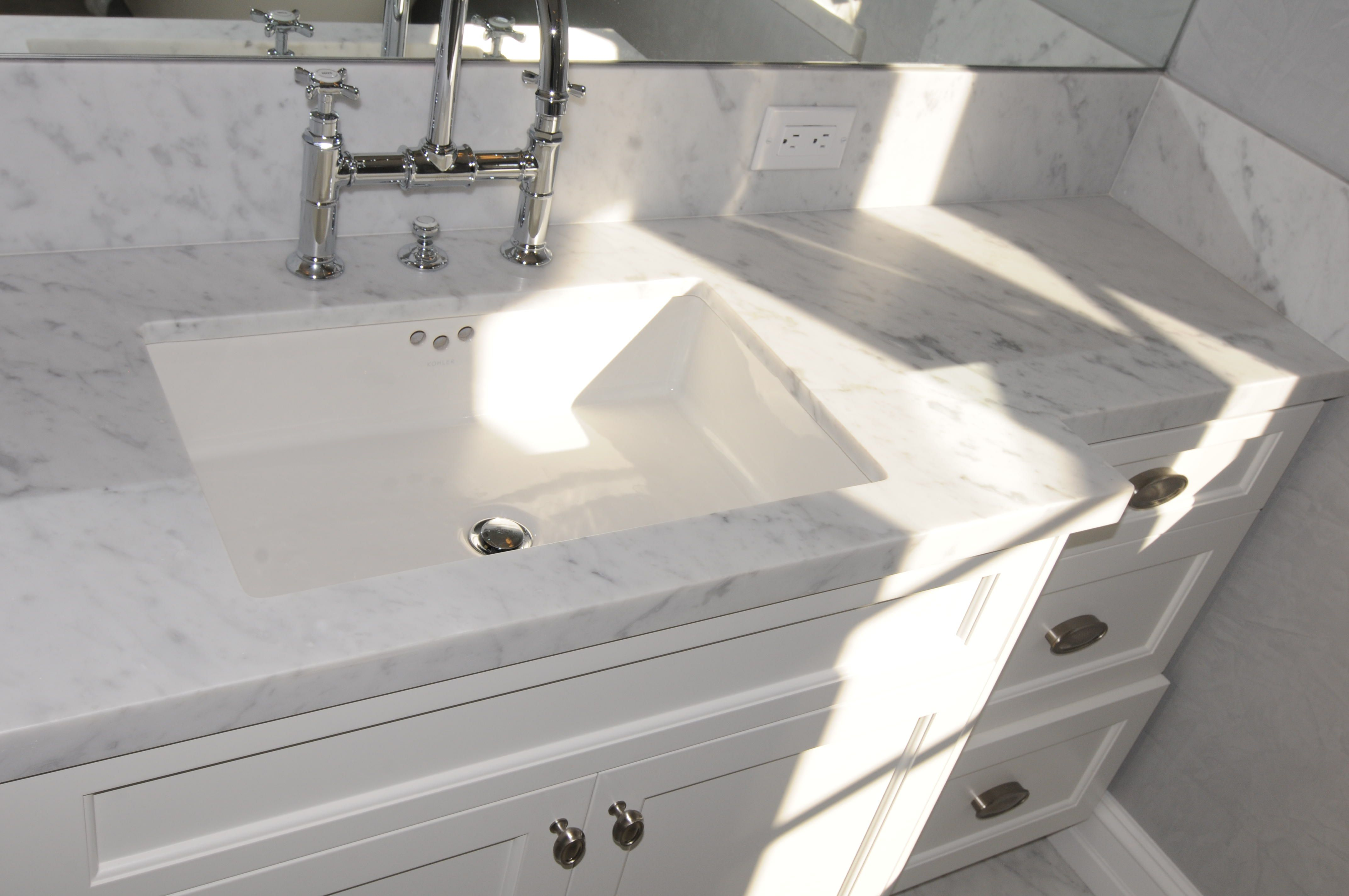 Interior Bathroom Kitchen Elegant White Marble Counter Top Combined Ceramic  Trough Sink And Painted Wooden Vanity Cultured Marble Countertops
