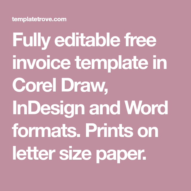 Fully editable free invoice template in corel draw, indesign and.