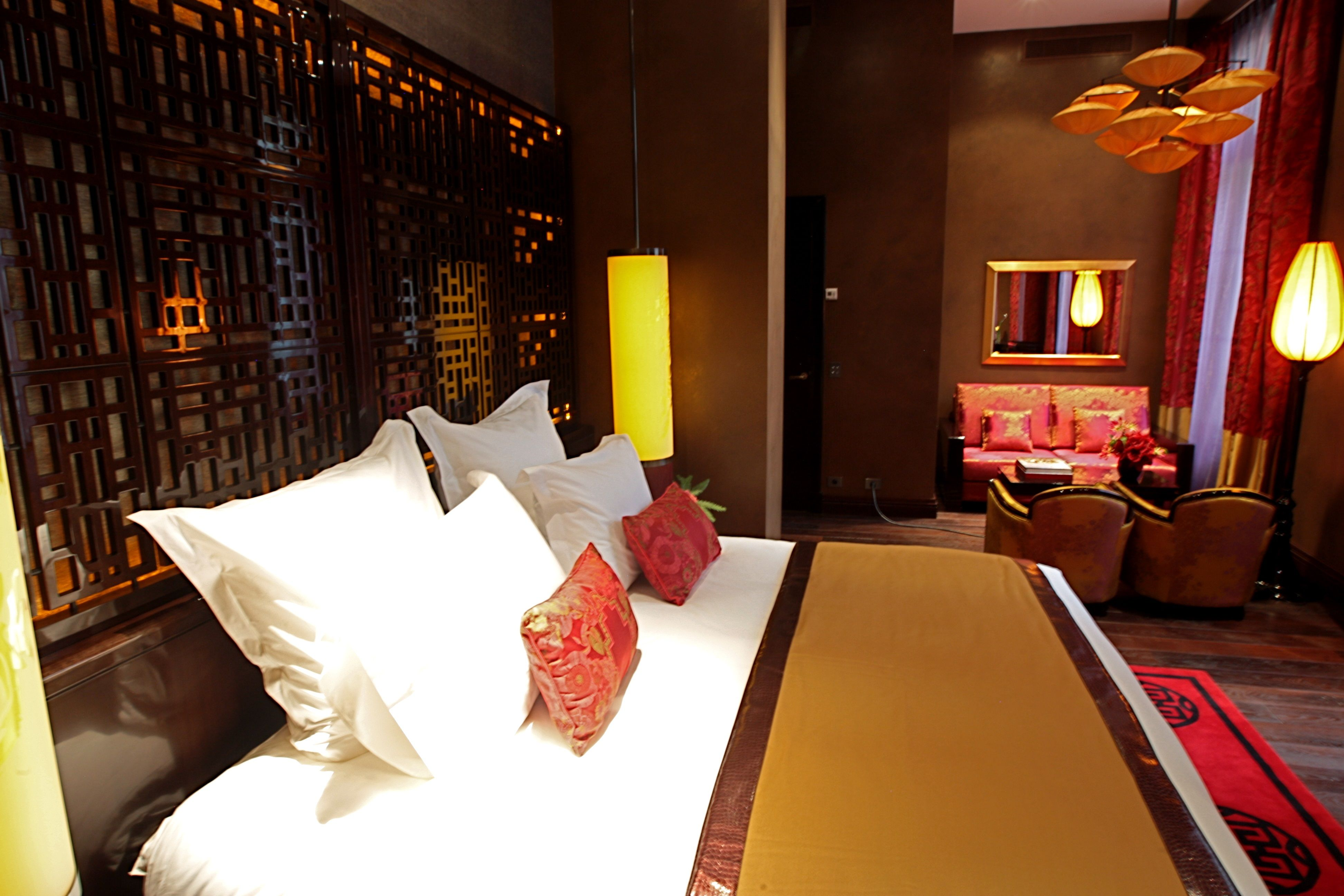 Studio Suite with a living corner with sofa @ Buddha-Bar Hotel Paris, opening June 10th.