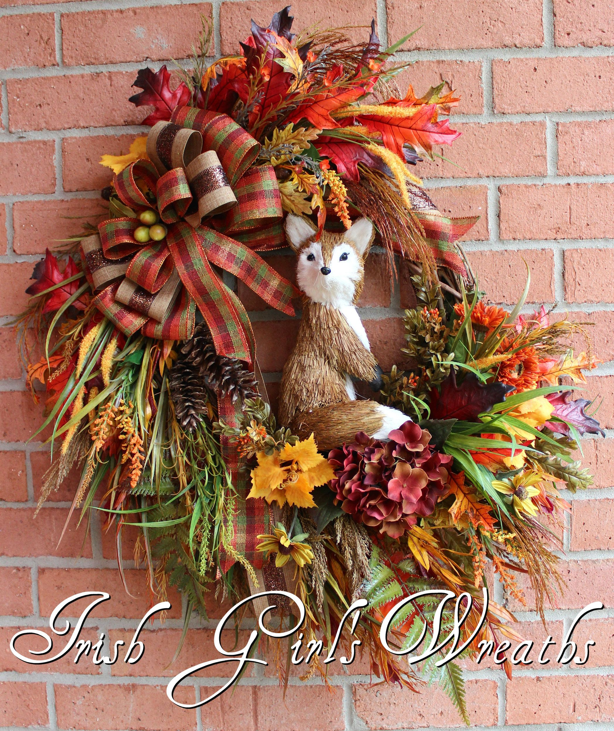 Large Rustic Fox Autumn Fall Woodland Wreath | Fall-Autumn Wreaths ...