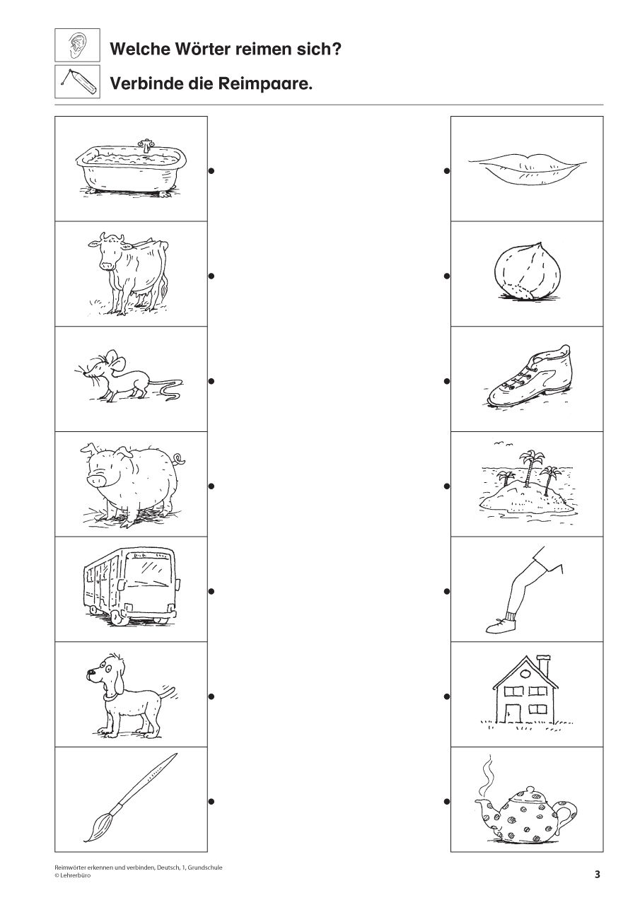 Reimwörter, Deutsch, 1. Klasse | Deutsch | Pinterest | Kindergarten ...