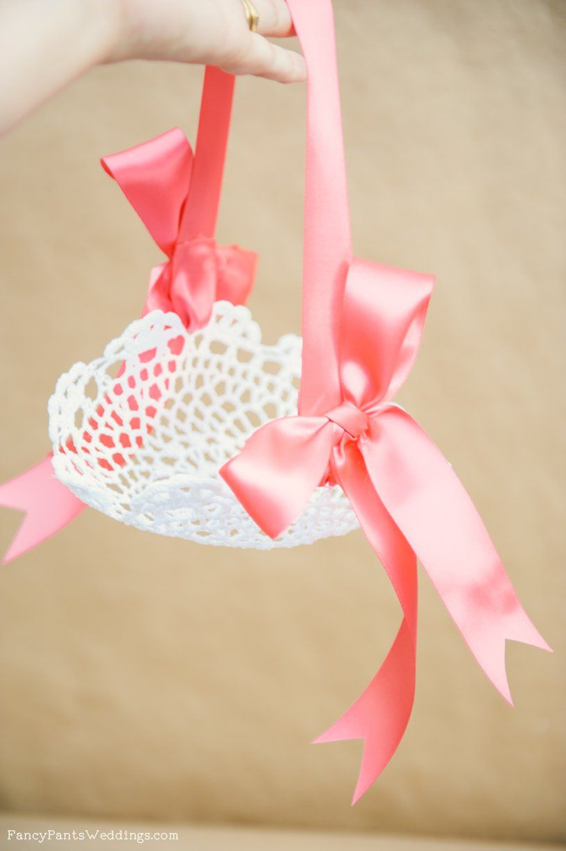 Lace Flower Girl Basket- DIY www.fancypantsweddings.com | Wedding ...