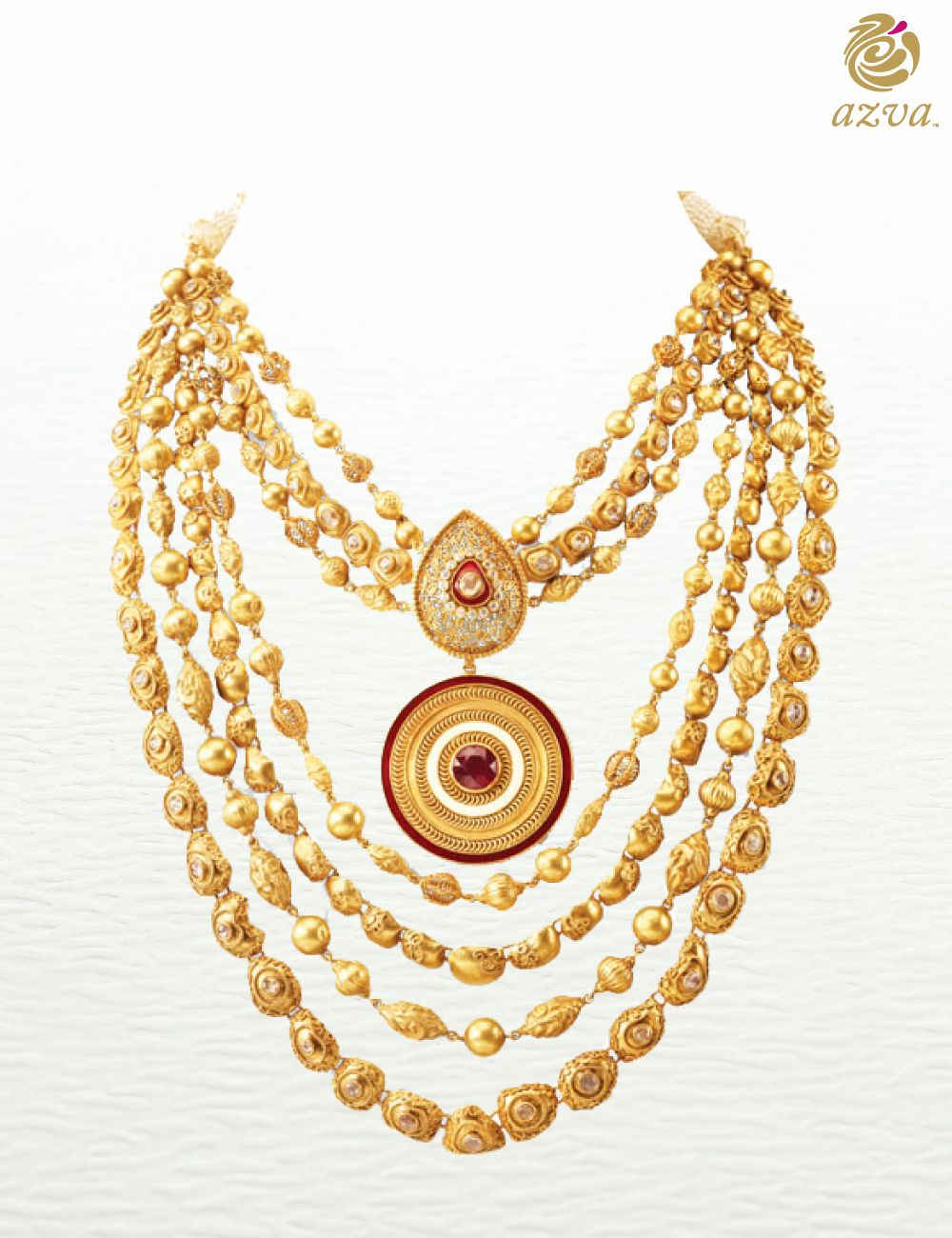 22 carat gold floral designer pendant with multiple beads chain and - 22 Karat Gold Seven Rows Haar With Handcrafted Beads Bold Pendant With Filigree Work