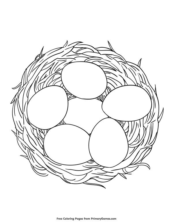 nest coloring pages Spring Coloring Pages eBook: Eggs in a Nest | Coloring Pages  nest coloring pages