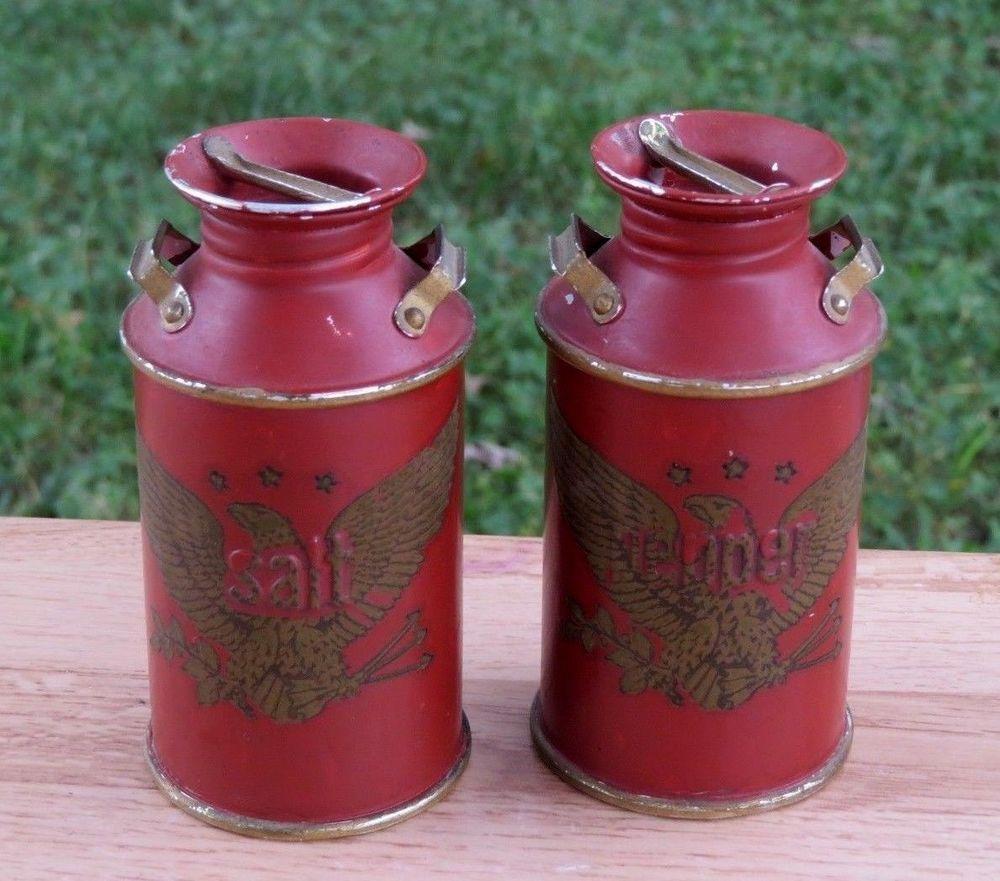 Antique Primitive Miniature Metal Old Milk Can Salt Pepper Shakers Bald Eagle Old Milk Cans Antiques Milk Cans