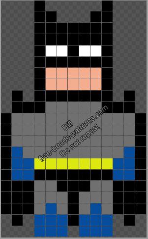 Superhero Batman Free Hama Beads Perler Pattern 13x21