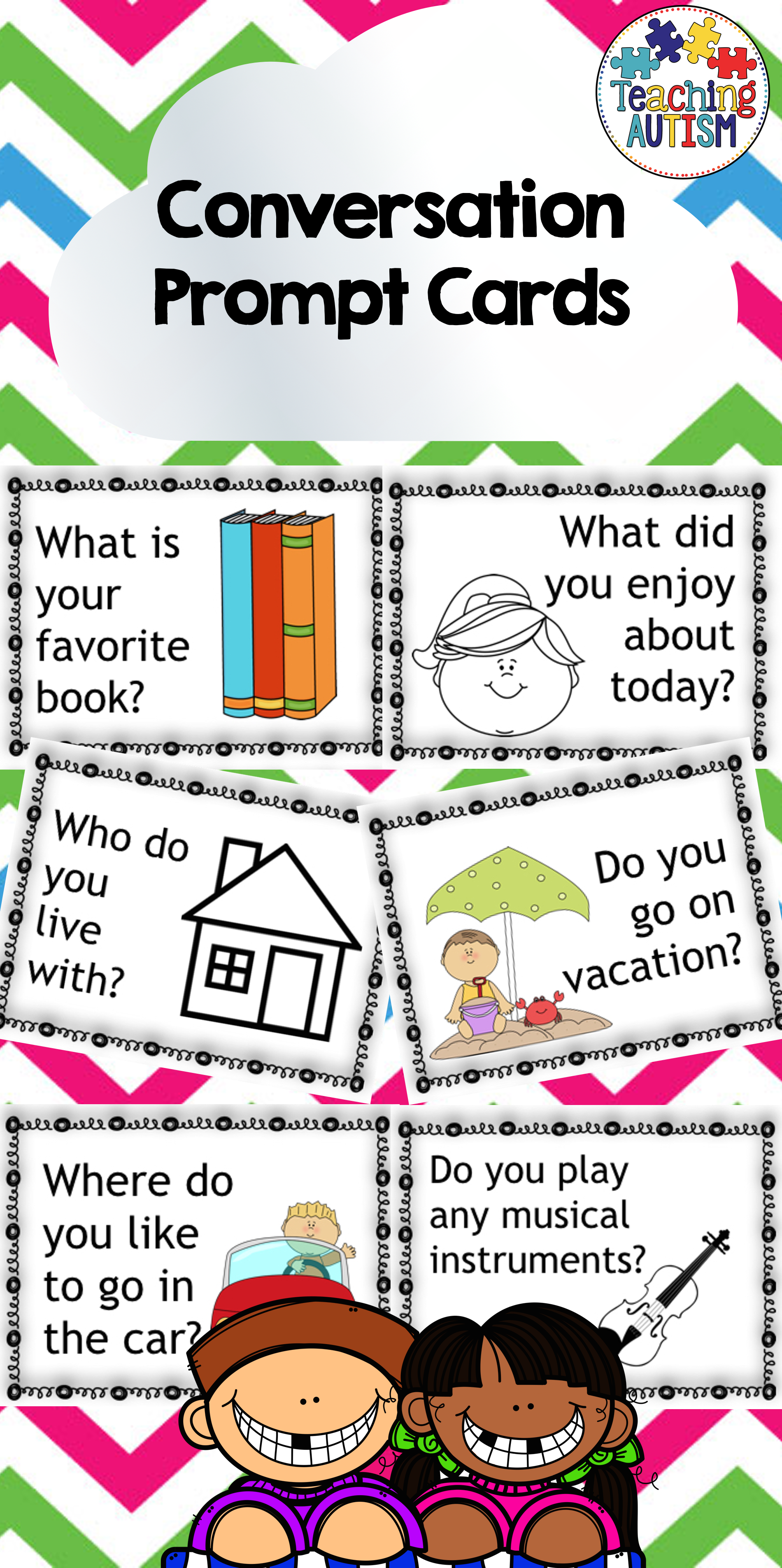 Conversation Starters Visuals Task Cards Social Skills