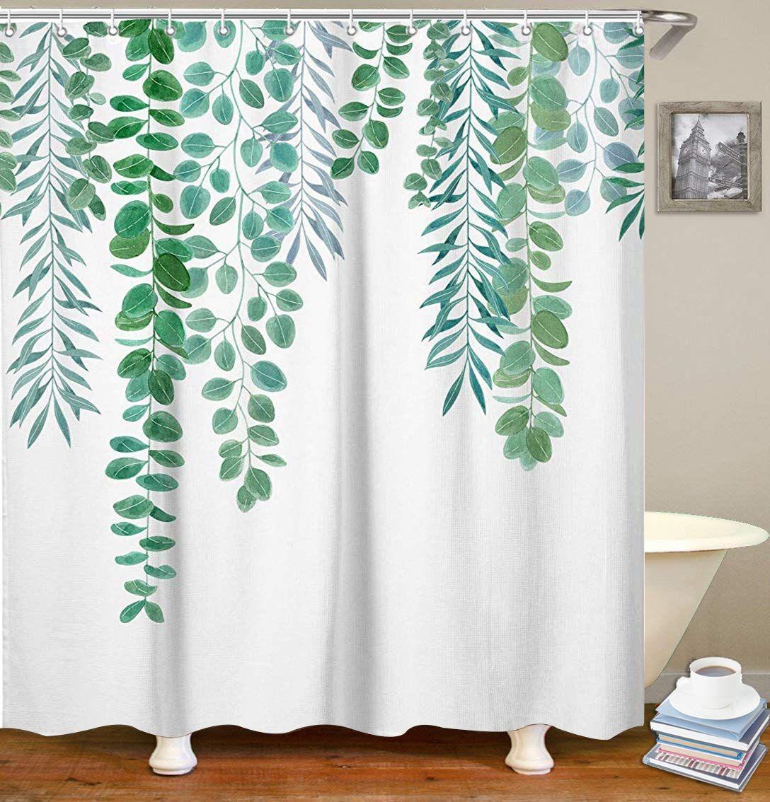 Livilan Green Leaf Shower Curtain Set With 12 Hooks Decorative