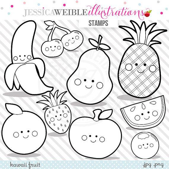 Kawaii Fruit Digital Stamps Fruit Blackline Cute Fruit Etsy Kawaii Fruit Cute Fruit Digital Stamps