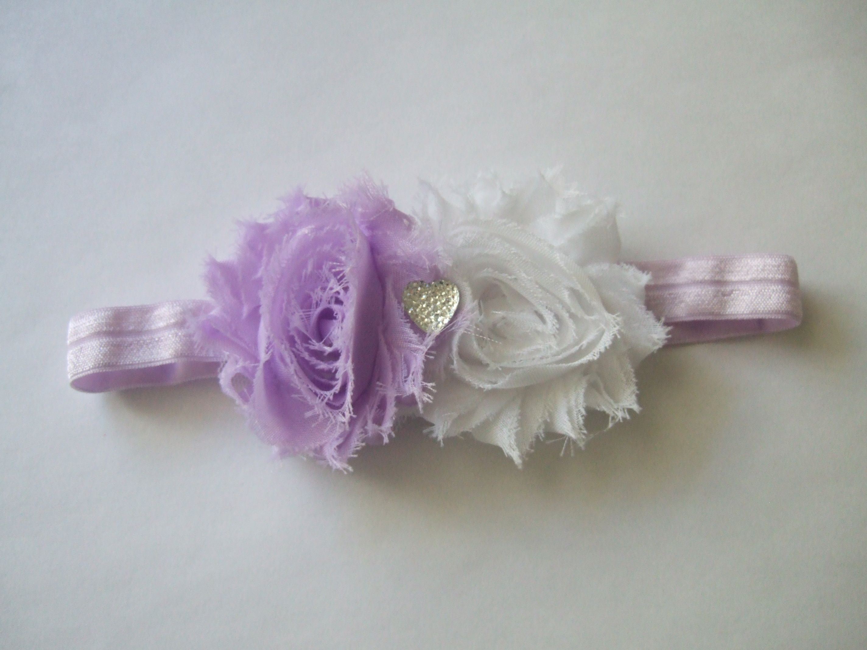 Shabby Flowers with Heart Rhinestone Headband- $7.50 www.facebook.com/justaboutbows