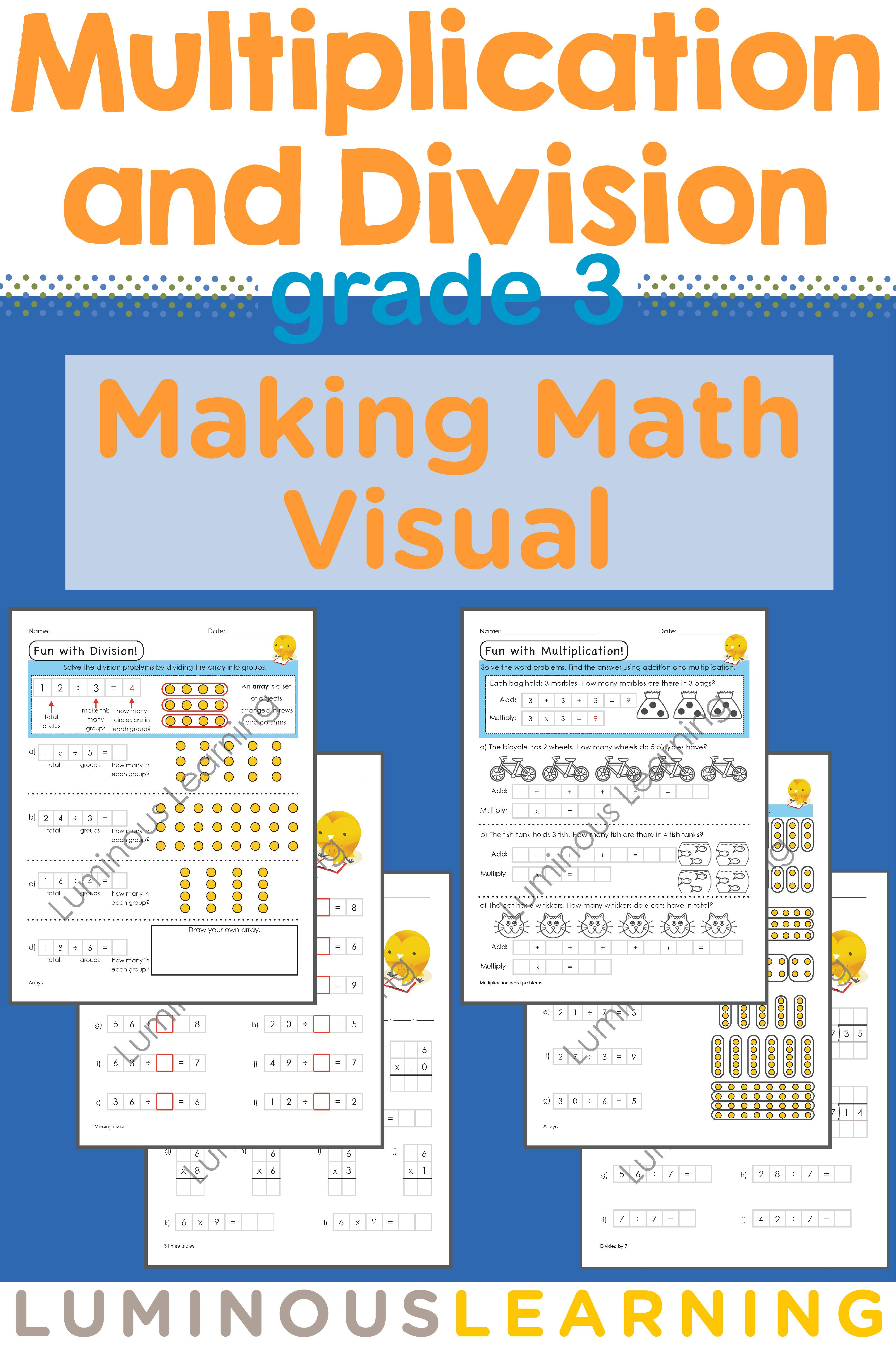 Grade 3 Multiplication and Division Workbook: Making Math Visual ...