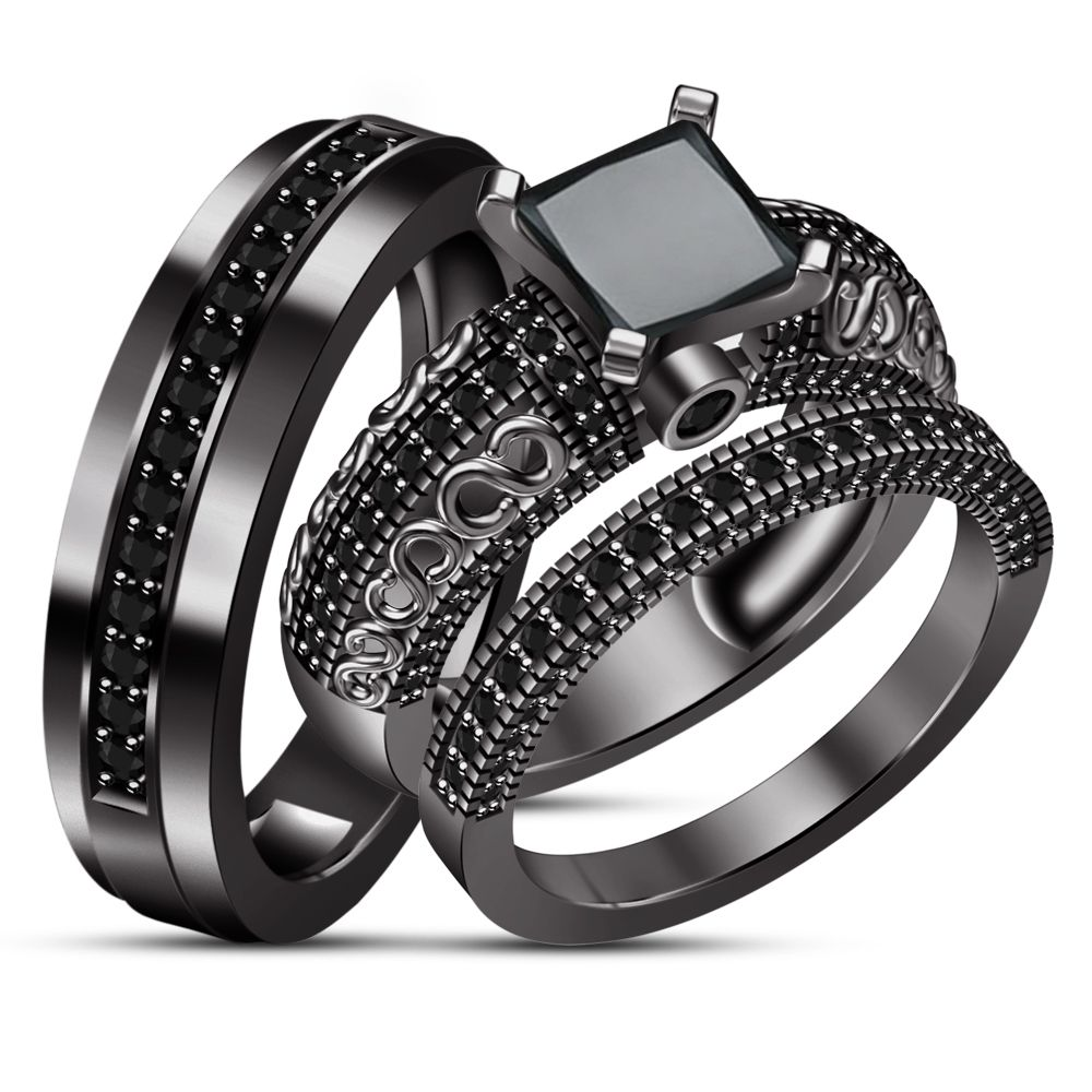 Bride Groom Engagement Ring Trio Set Diamond Black Gold Plated Pure 925 Silver Black Gold Jewelry Black Diamond Wedding Bands Black Gold Ring