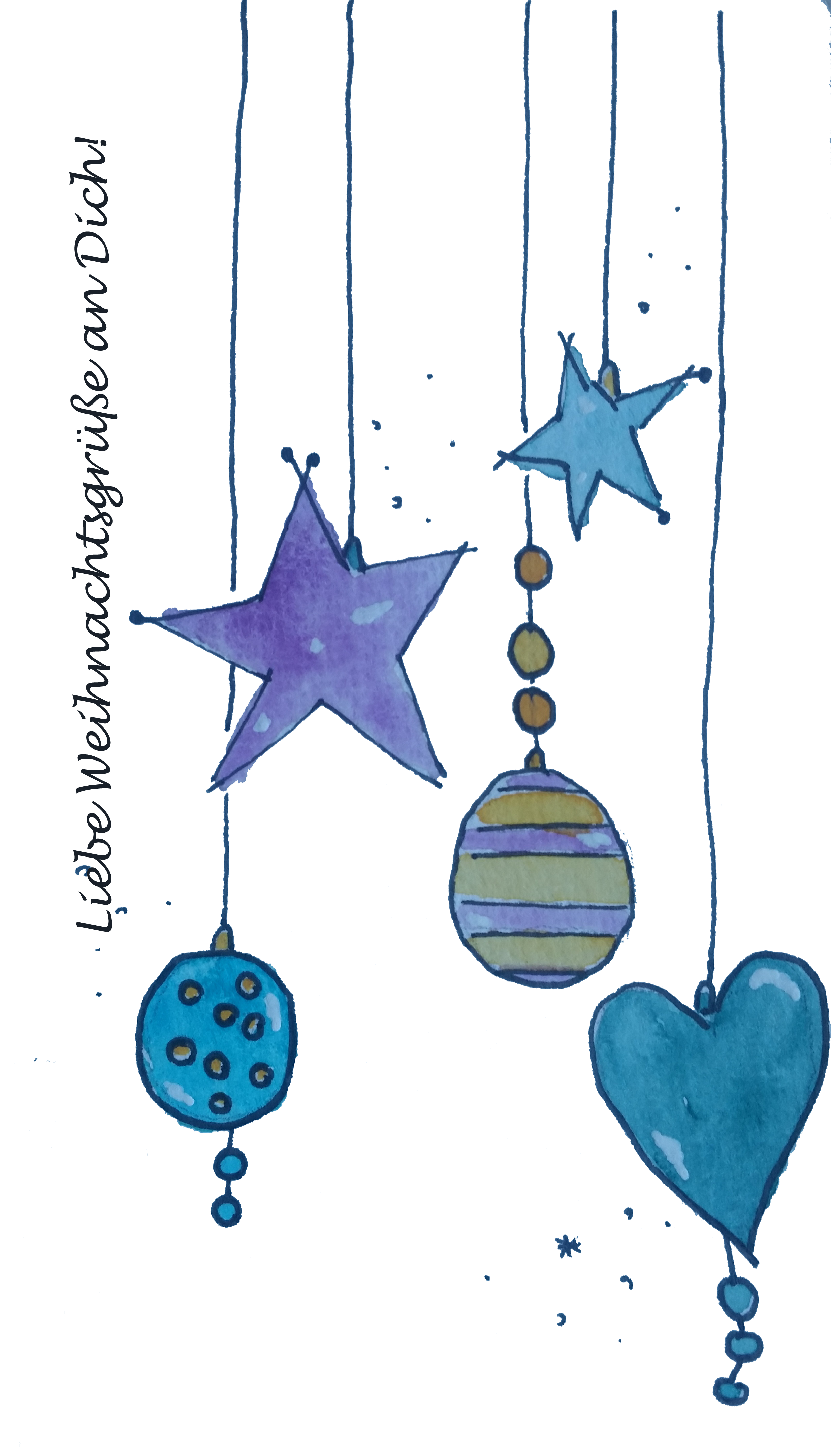 Weihnachtskarte Kugeln und Sterne