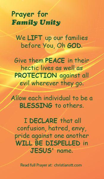 Prayer for Family Unity | DAILY PRAYER | Prayer for family, Bible