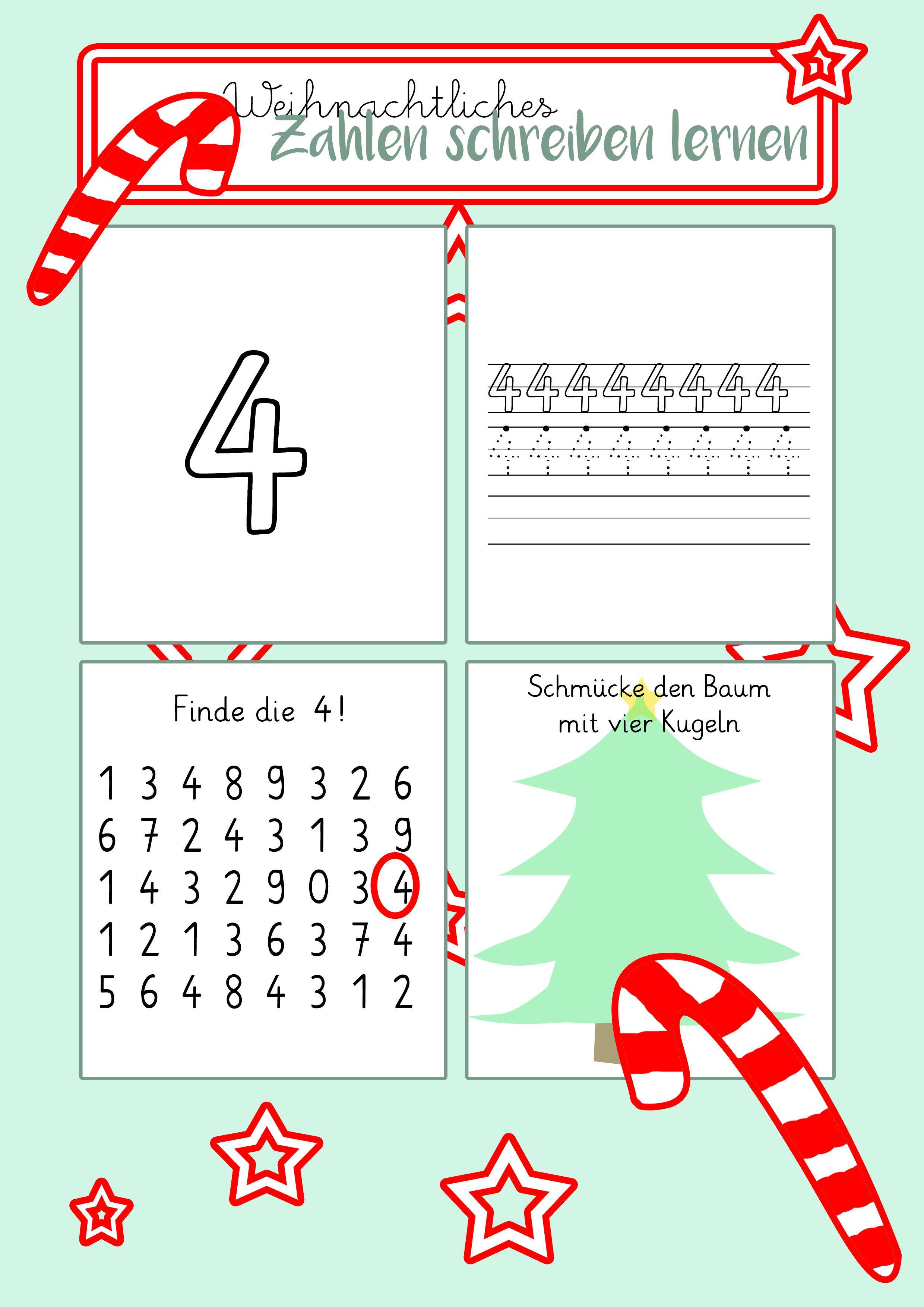 Zahlen schreiben lernen - weihnachtliche Arbeitsblätter | Hallo ...