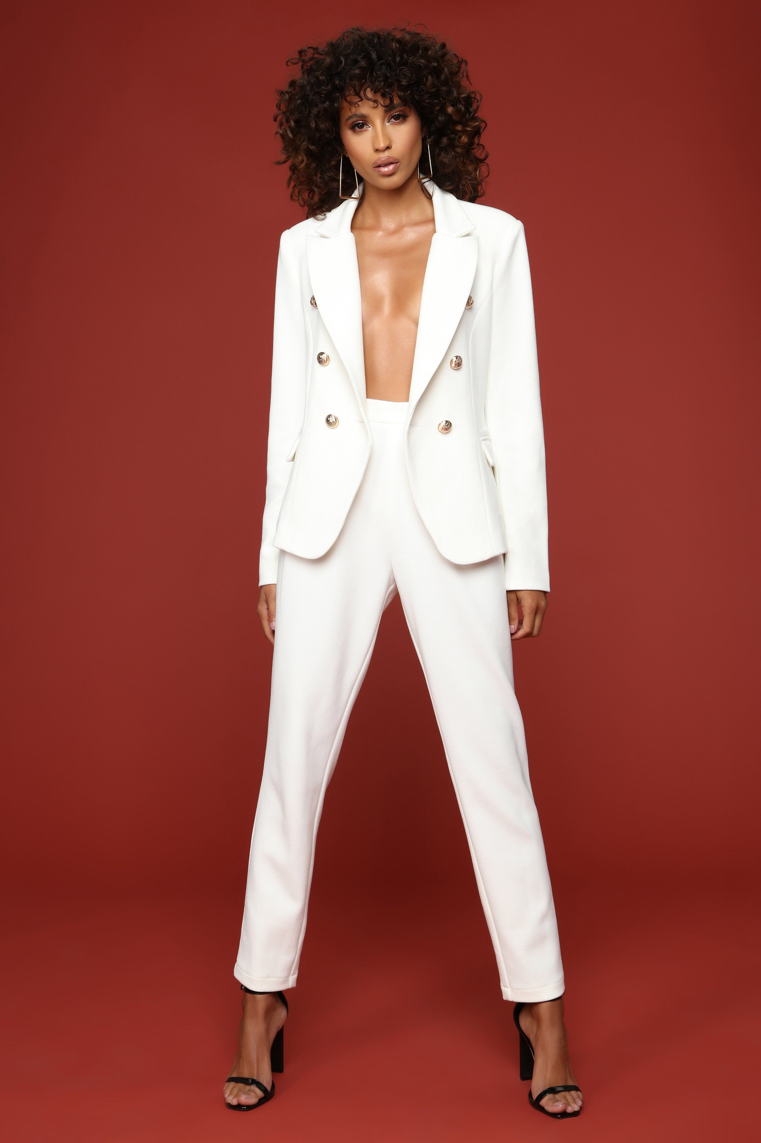 3a0dc637776 Beverly And Wilshire Blazer Set - Ivory Double Breasted Blazer, Wool Suit,  Everyday Outfits