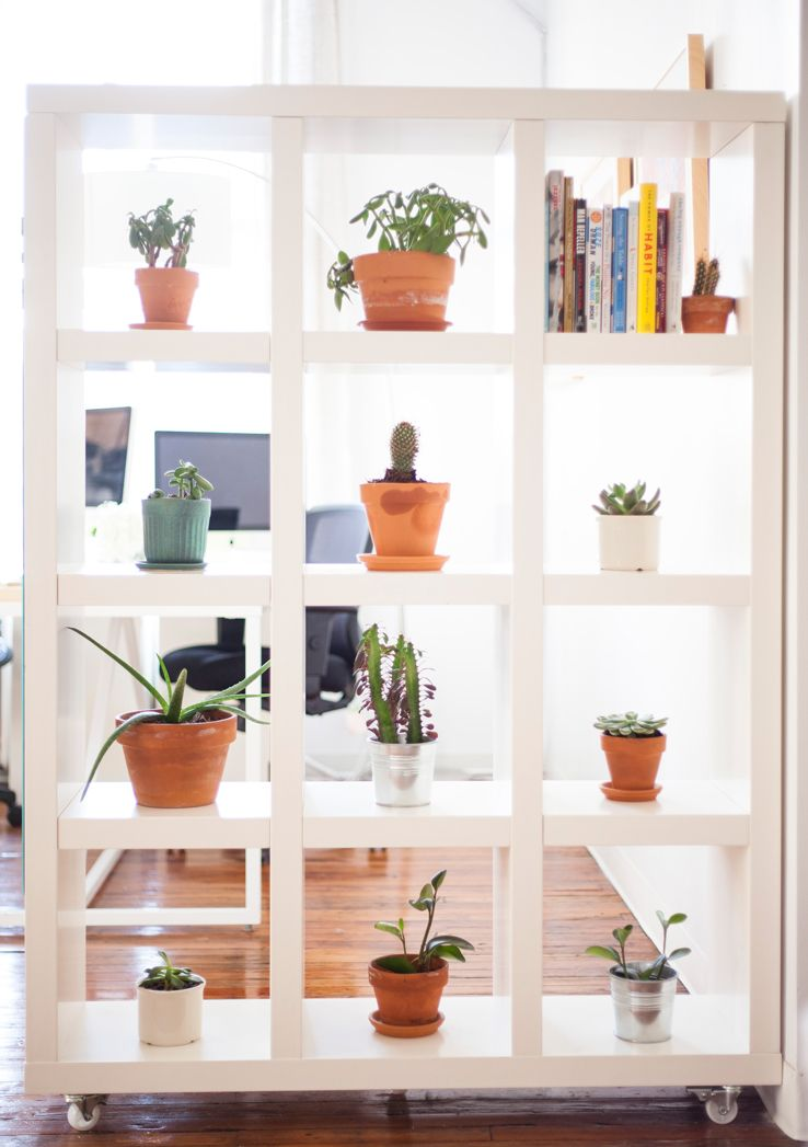 Shelving With Wheels Makes A Great Room Divider Before After On The West Elm S Blog Decor Room Divider Shelves Shelving