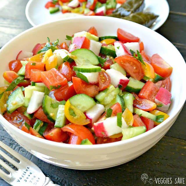 Mediterranean Cucumber and Tomato Salad Recipe | Yummly