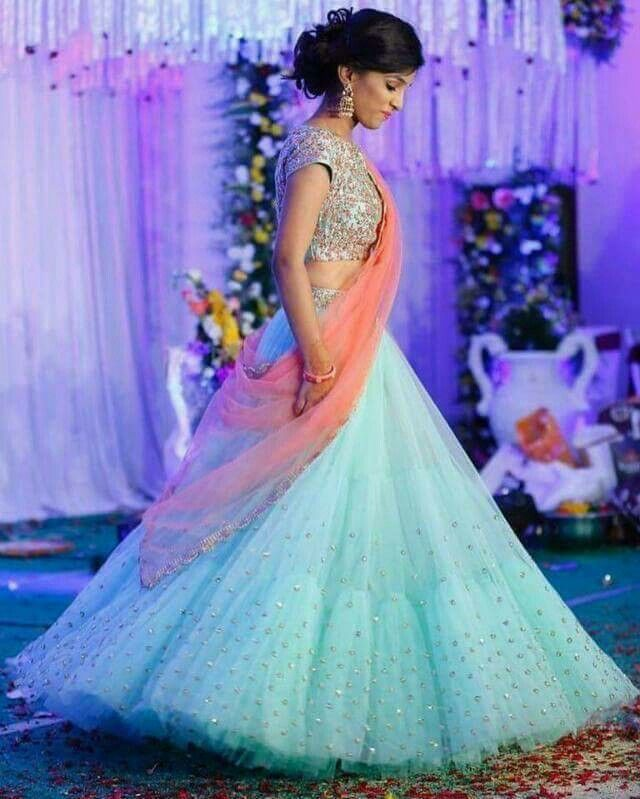 08ccbcf1f4 Party wear sky #blue lehenga with #shimmery dupatta | Traditional ...