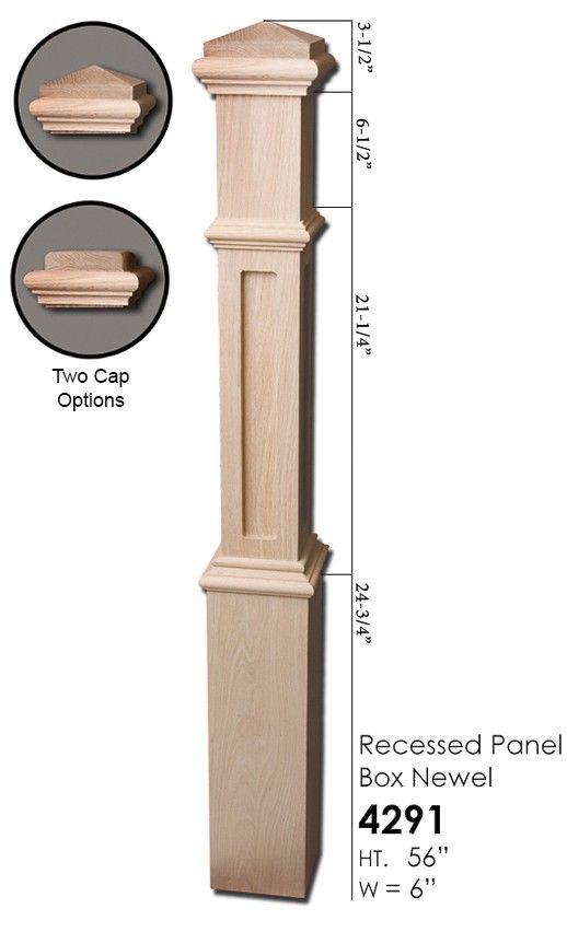 """4 1//2/"""" 5/"""" Red Oak Box Newel Posts Stair Parts 3 1//2/"""" and 6 1//4/"""" Large Newels"""