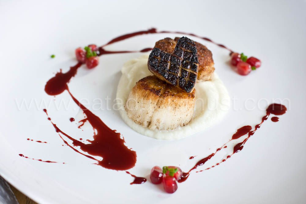 seared scallops and foie gras with pomegranate truffle. Black Bedroom Furniture Sets. Home Design Ideas