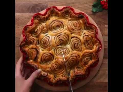 Cinnamon Swirl Apple Pie with Puff Pastry Crust & top