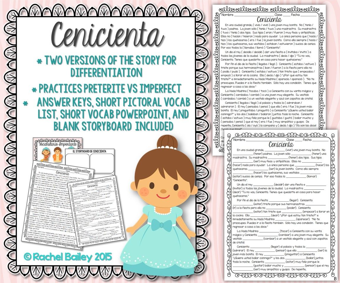 Preterite Imperfect Story Worksheet (Rapunzel) | Spanish ...