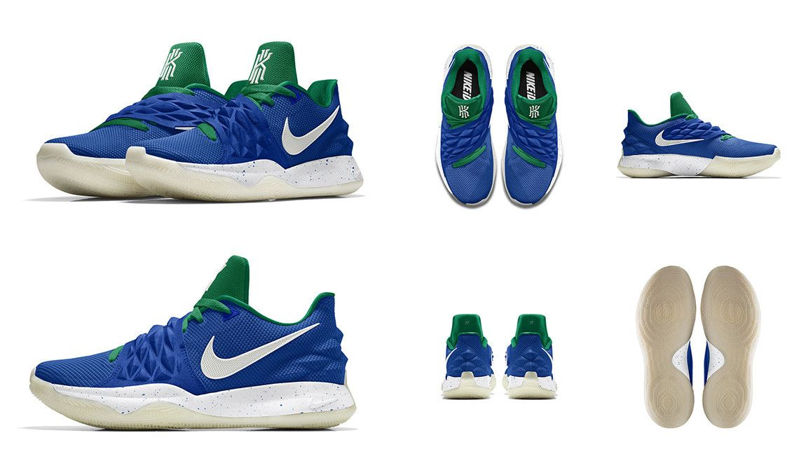 """fd2a99a9f1 NIKEiD 2018-19 NBA Season Luka Doncic, Nike Kyrie Low 1 """"Retro Glow""""  features a retro Dallas Mavs color scheme and a glow-in-the-dark outsole."""
