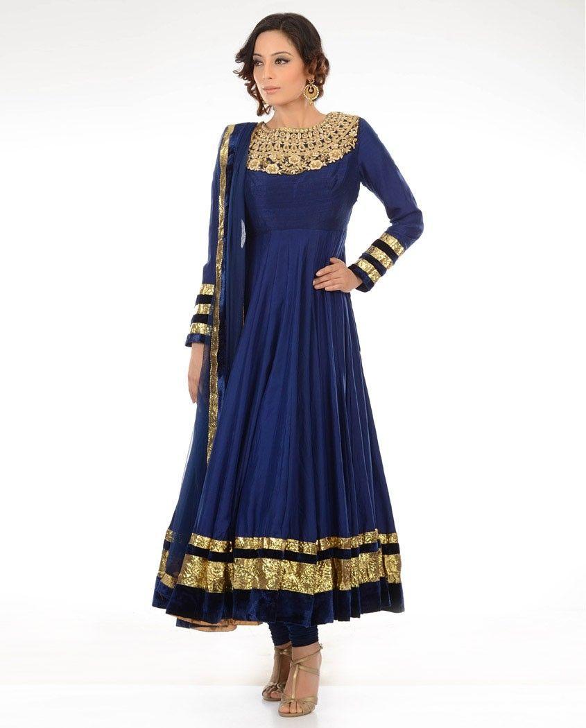 Royal Blue Gold Anarkali Desi Indian Dresses Dresses Indian