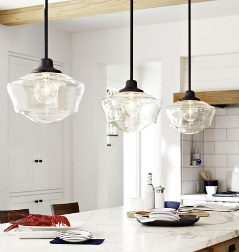 Love Clear Glass Schoolhouse Shades Schoolhouse Pendant Lights School House Lighting Kitchen Renovation