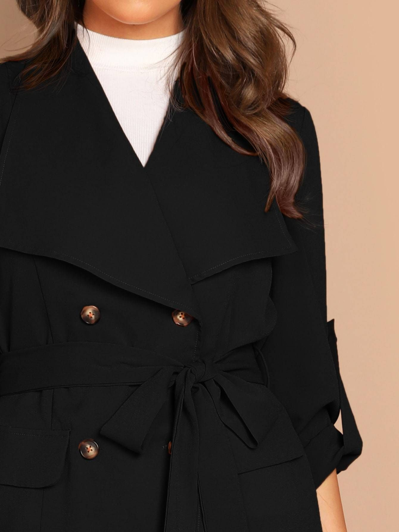Double breasted roll up sleeve belted coat roll up
