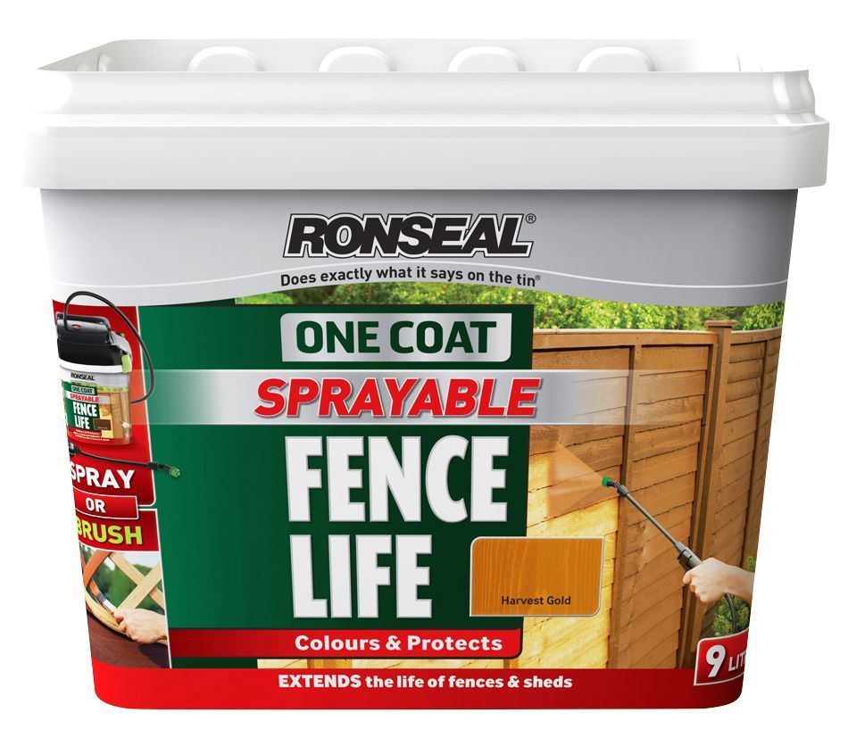 Ronseal One Coat Sprayable Fence Life Harvest Gold Shed & Fence ...