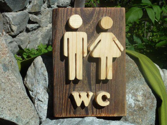 Wood Sign Rustic Wall Toilet Door Restroom