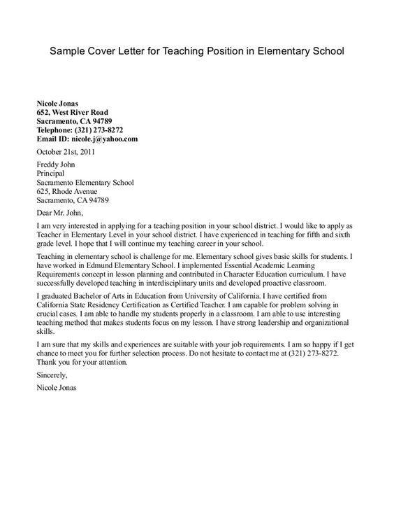 cover letter example for elementary teachers