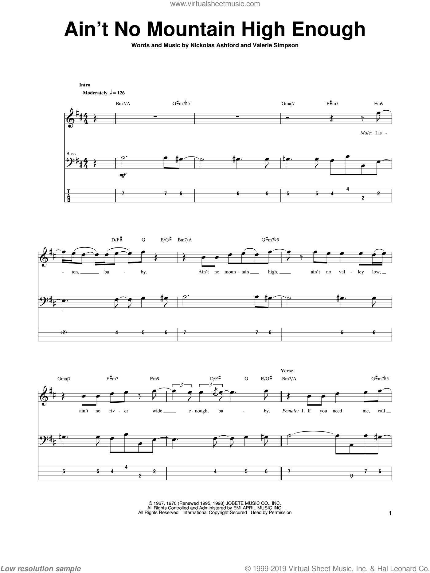 Terrell   Ain't No Mountain High Enough sheet music for bass ...