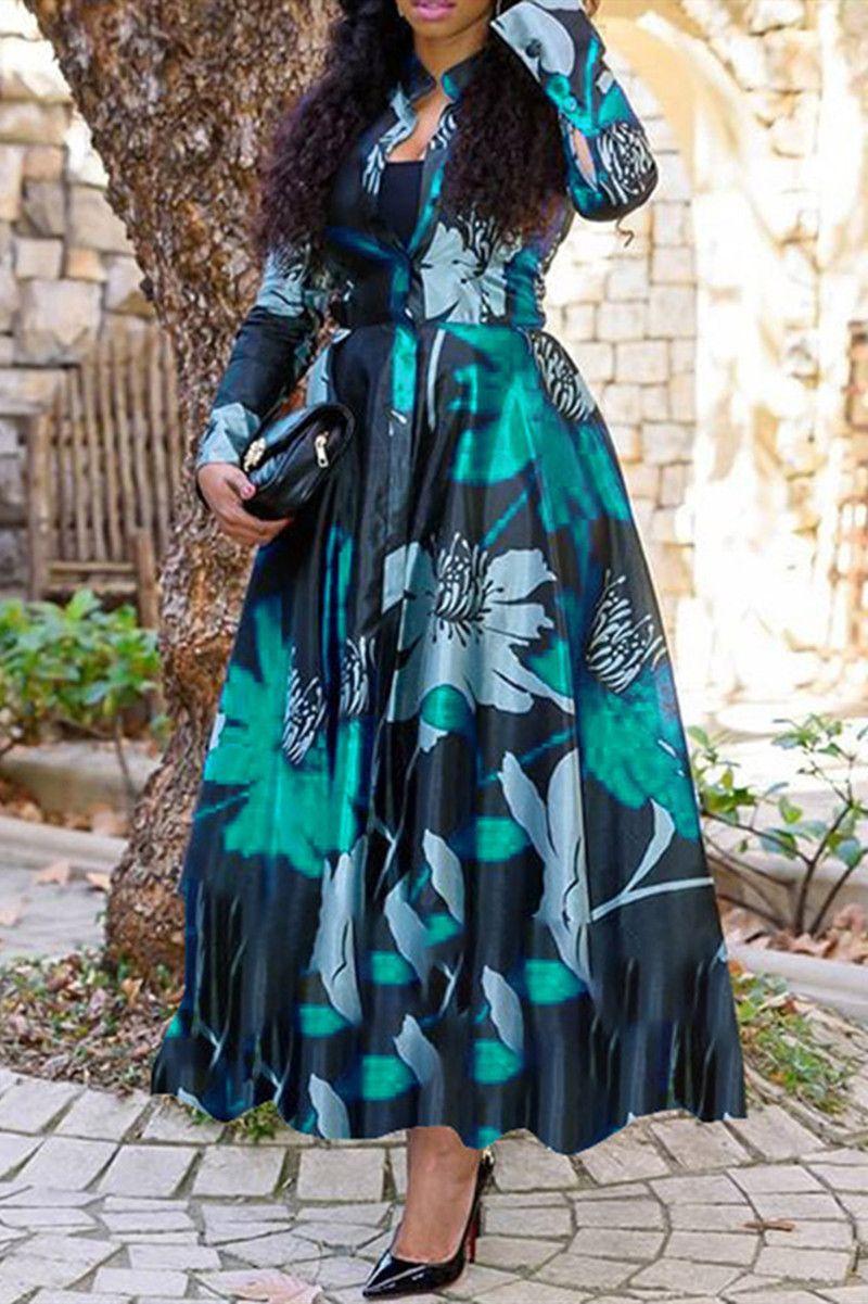 Green Fashion Printed Long Sleeve Dress Maxi Dress Maxi Dress With Sleeves Long Sleeve Dresses Fall [ 1201 x 800 Pixel ]