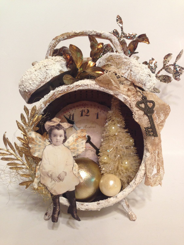 Altered Fairy Clock Tim Holtz Assemblage Shabby Chic White