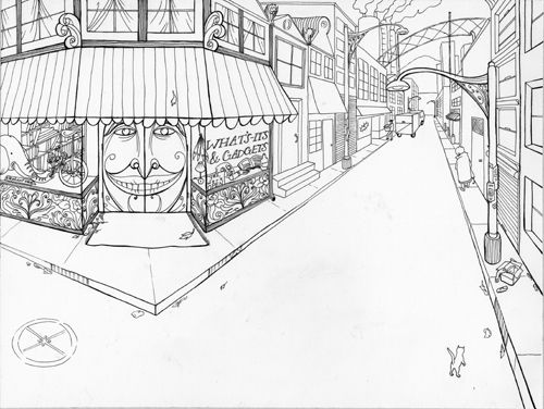 This is a 2 point perspective drawing of a street with