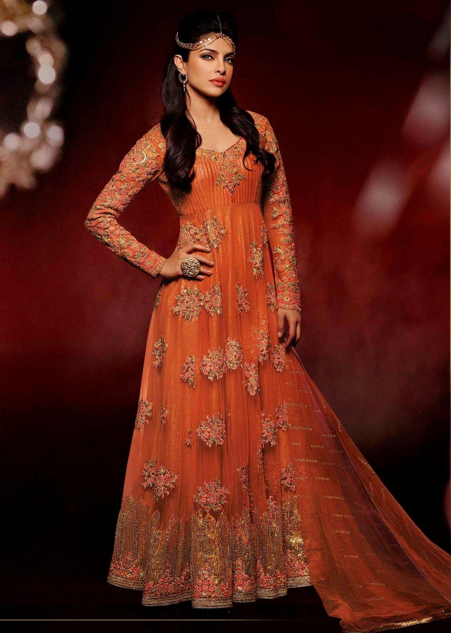 Buy Online Priyanka chopra Orange Wedding Designer Anarkali Suit ...