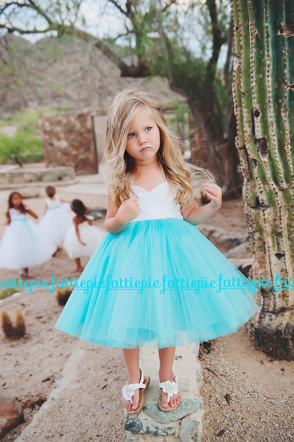 Custom Order For Brenda O Blue Halter Flower Girl Blue Dress White