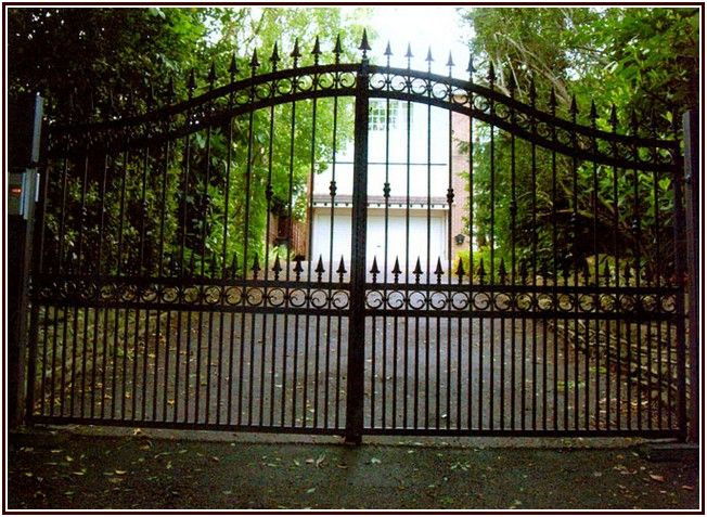 Striking Wrought Iron Pet Gates Driveway Design Wrought Iron