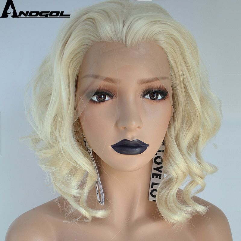 Anogol High Temperature Perruque 360 U Part 613 Blonde Short Deep Wave  Frontal Hair Wigs Synthetic Lace Front Wig For Women Part Short Blonde 9a4c36cd59
