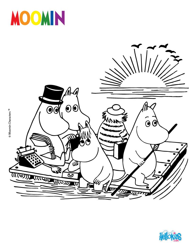 MOOMIN ON THE RIVER for free coloring page Colouring In