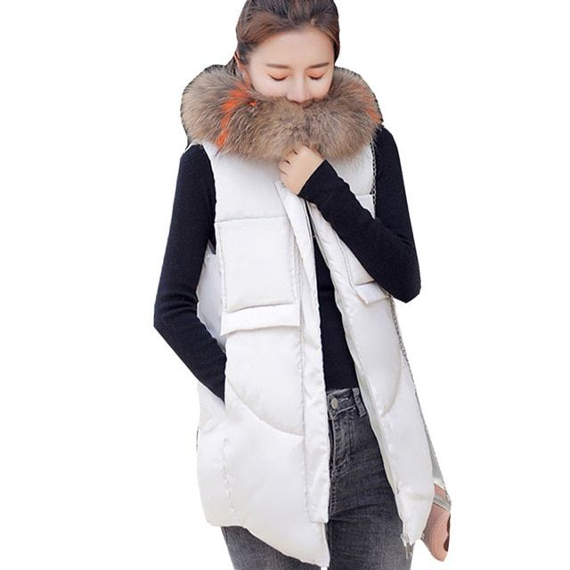 b788ae721ffa6 Autumn Winter Vest Women Waistcoat 2018 Female Sleeveless Jacket Hooded  Warm Long Vest colete feminino Plus