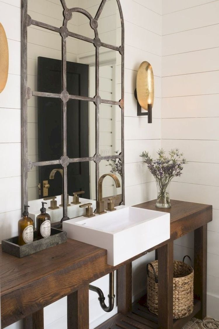 Wooden Bathroom Vanity One Shown Is Approximately 35 Tall X 25 Wide X 60 Long Ha Wooden Bathroom Vanity Small Apartment Bathroom Modern Farmhouse Bathroom