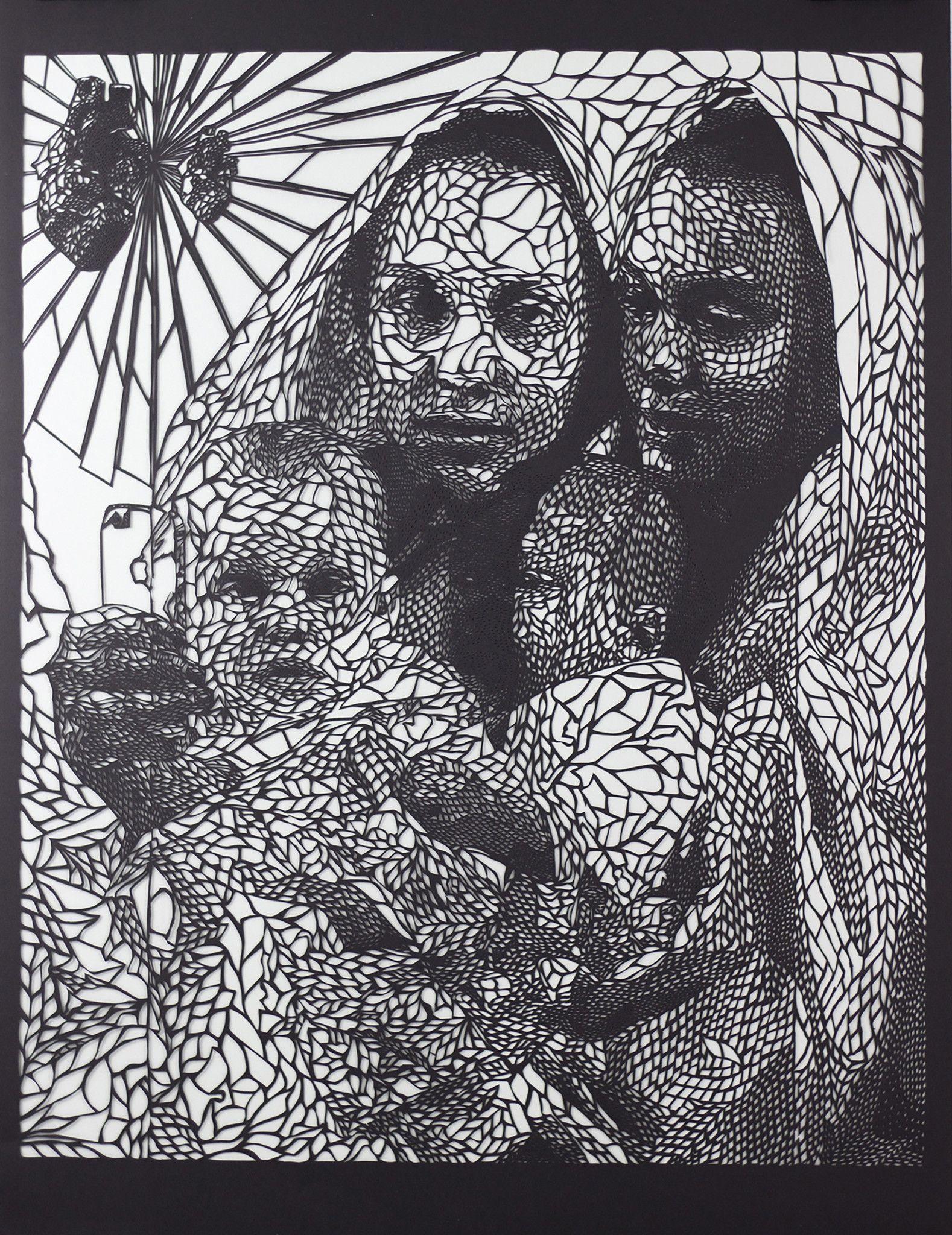 "Hand-cut paper 18"" x 24"" framed By Carlo Fantin"