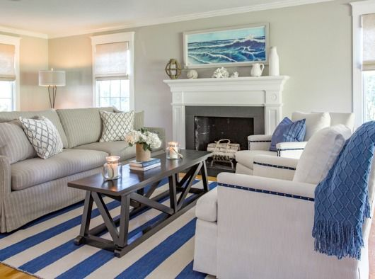 Marthas Vineyard Nautical Home Coastal Living Rooms Nautical