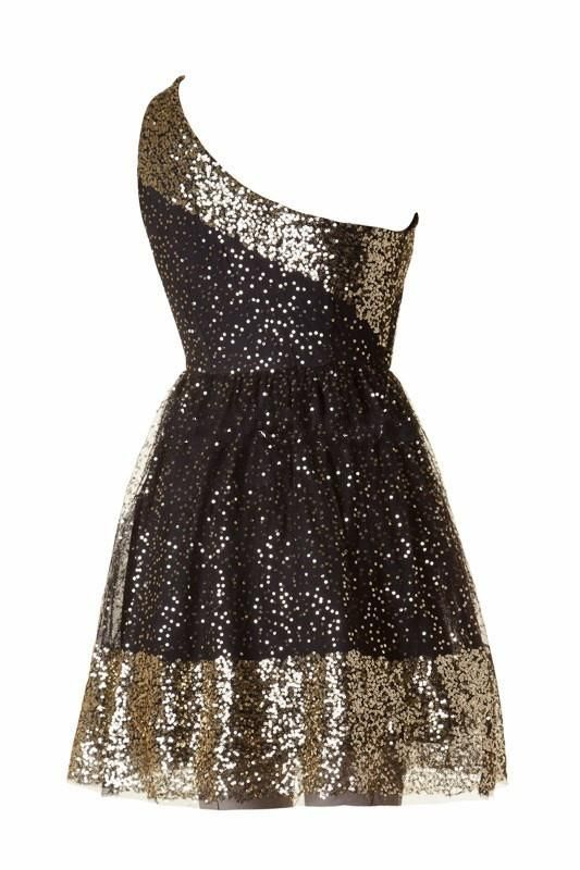 56b97f4dd8 ... Skater Dress - Black + Gold. Very beautiful dress. Sleeveless one  shoulder sequin detailed A-line dress with inner tulle lining 100%  polyester. Lined.
