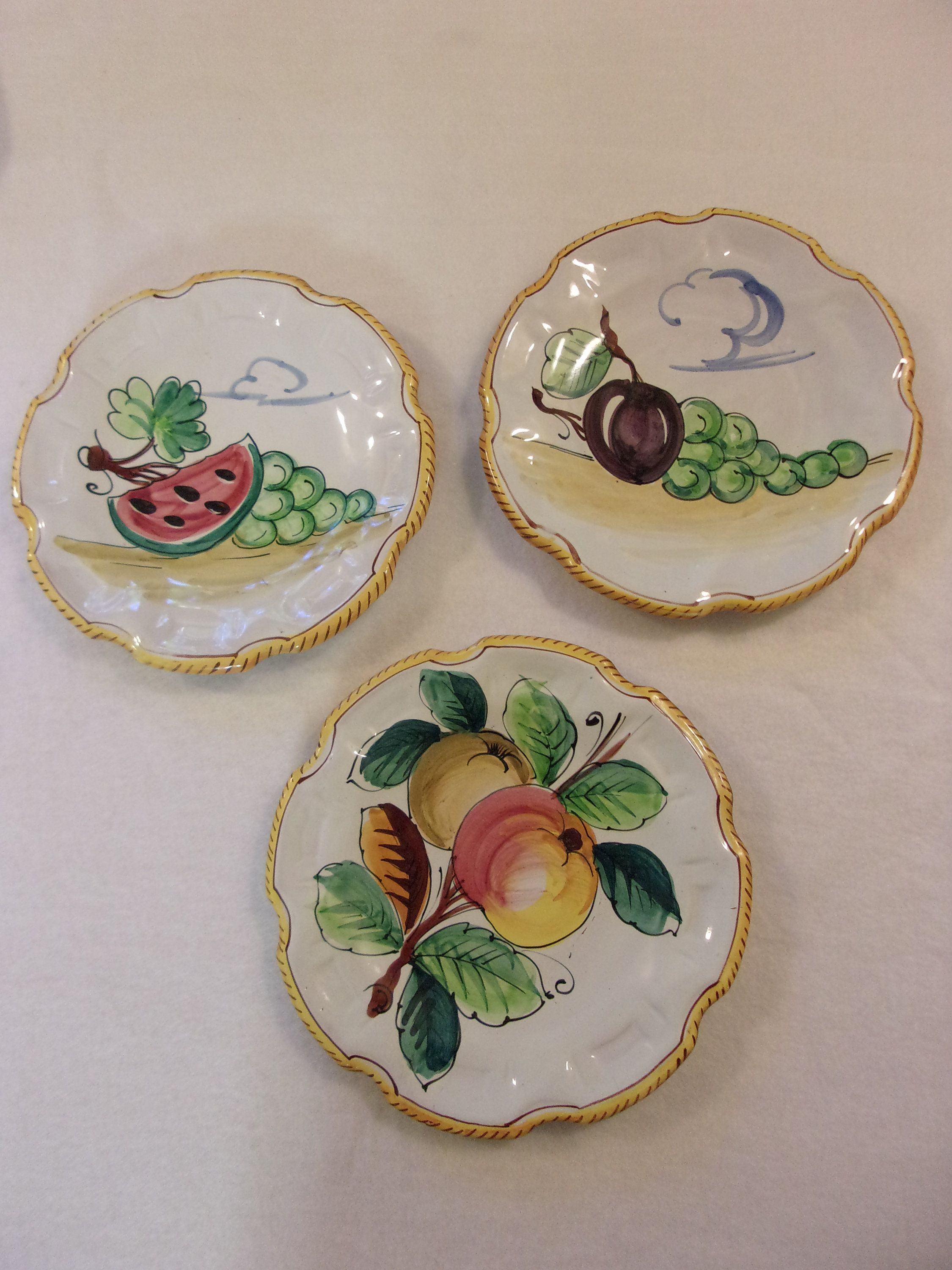 Vintage Italian Plates 9 Inch Plates Lot Of 3 Hand Painted Numbered Ceramic Plates Fruit Motif Scalloped Rim Displ Vintage Italian Hand Painted Plate Display